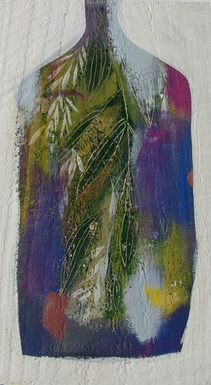 infusing bay leaves 2  by Tiel Seivl-Keevers  acrylic and ink on found wood