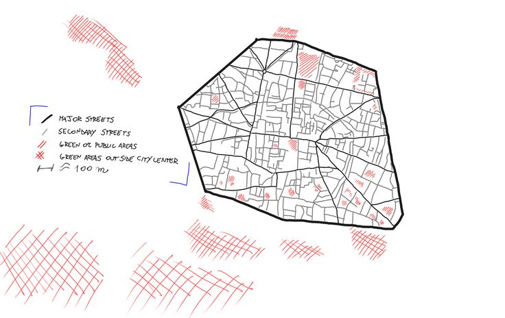 Week 1. Riccardo Brini, Engineer, from Bologna, Italy. I wanted to represent the historical center of my city. Being a historical city, the center is well defined. The farther away from the central square, most areas expand, denoting an evolution with regard to antiquity. The aggregation areas in the center are mainly squares, externally increase in size being large public parks. These areas, however, are not well connected and can not to benefit the whole city. Traced free hand map on…