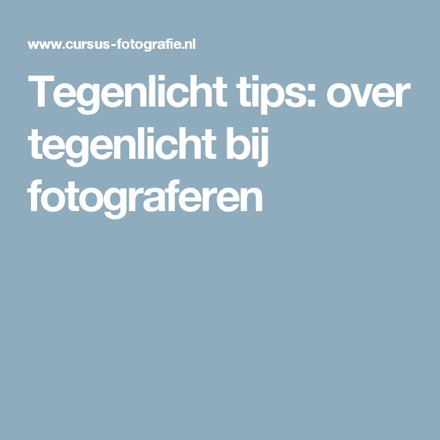 Tegenlicht tips: over tegenlicht bij fotograferen