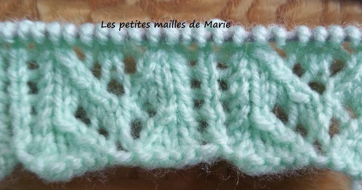 Le point colonnes ajourées se tricote sur 6 rangs avec un nombre de mailles multiple de 12 +2 mailles lisières (mailles tricotées à l'en...