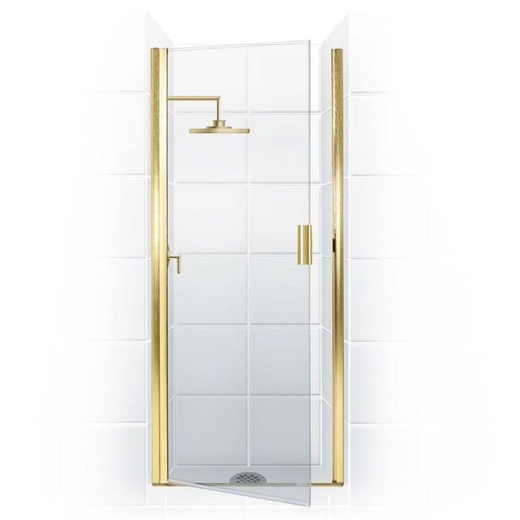 Coastal Shower Doors Paragon Series 27 in. x 65 in. Semi-Framed Continuous Hinge Shower Door in Gold with Clear Glass and Knock-On Handle