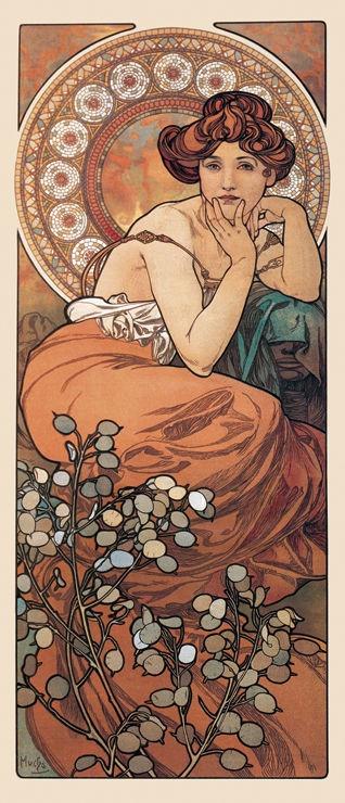 Titolo: Donna di fiori III  - Mucha Alfons Maria (1860-1939) - STAMPA SU TELA € 21,67