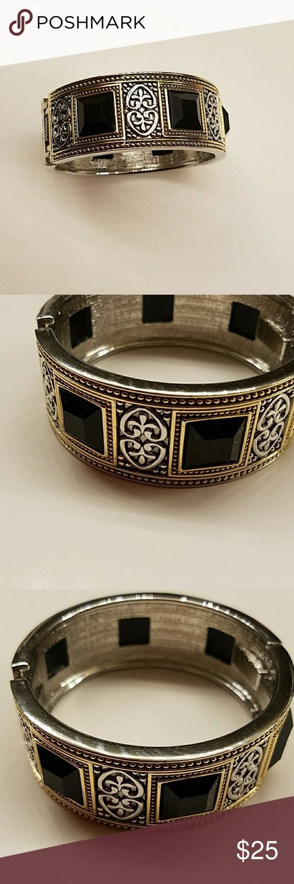 Silver and gold with black stones bracelet Beautiful bracelet looks like something from Brighton store Accessories