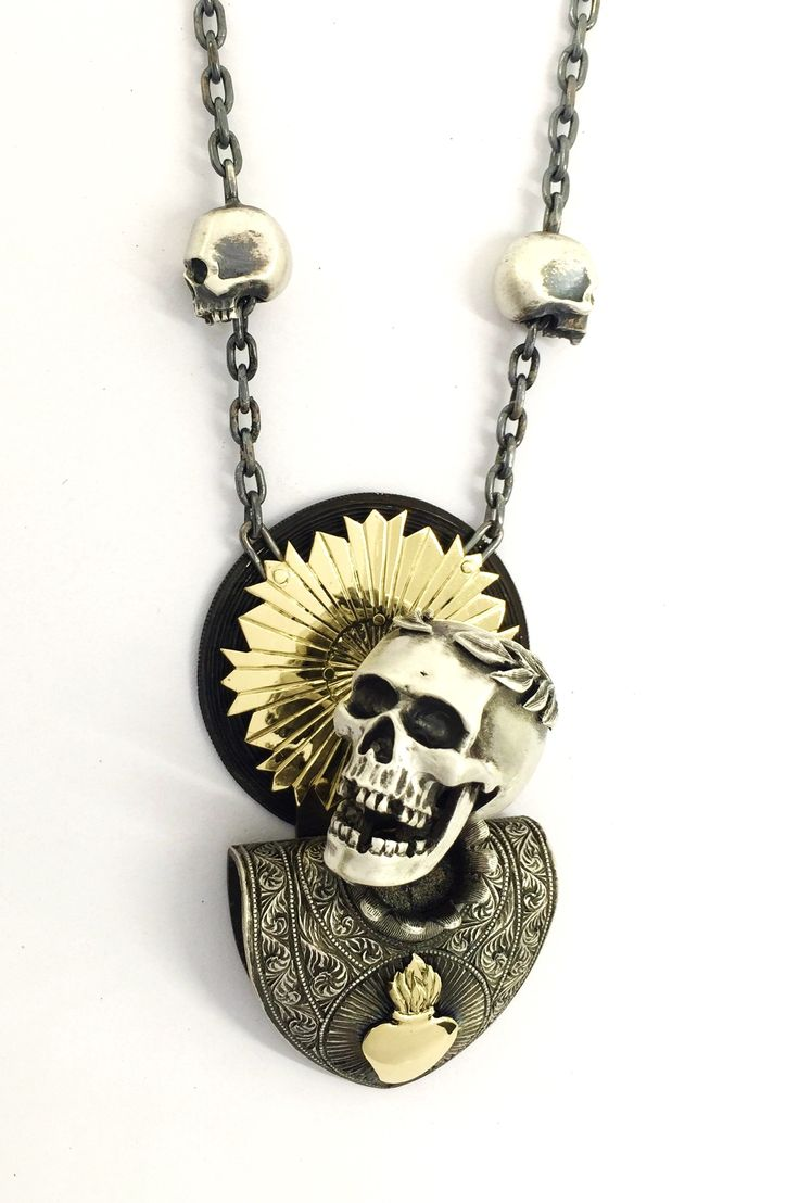 Catacomb Saint necklace from Sirkel Jewellery Design. Sterling silver and 18K yellow gold.