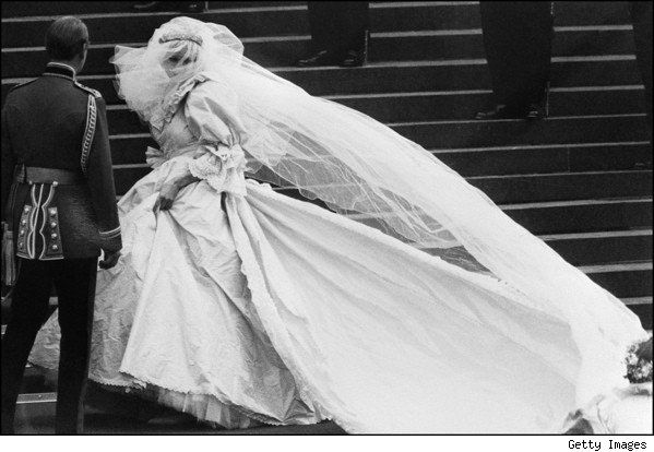 Diana, Princess of Wales, wore a dress designed by David and Elizabeth Emanuel for her July 1981 wedding to Prince Charles. Her gown's 25-foot train is the longest in royal wedding history.