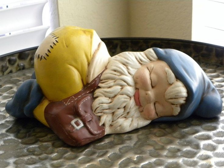 Etsy Transaction vintage garden gnome, our toddler Waverly sleeps like this. This cute gnome lives in our kitchen.