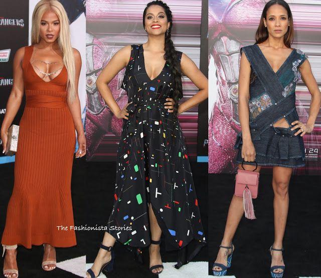 Christina Milian, Lilly Singh & Dania Ramirez at the 'Power Rangers' LA Premiere