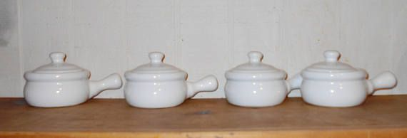 Vintage kitchen beach cottage french onion soup containers