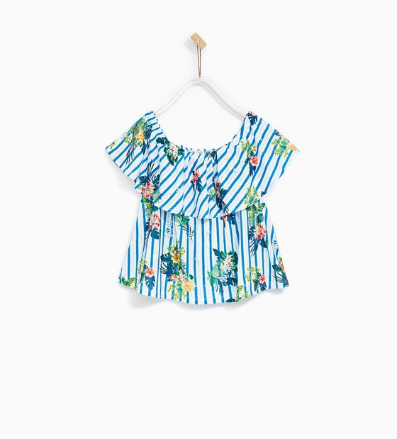 Image 1 of TOTAL LOOK STRIPED AND FLORAL PRINT TOP from Zara