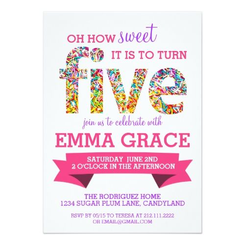 54 best 15th birthday party invitations images on pinterest candy theme 5th birthday party sprinkles invite filmwisefo Image collections