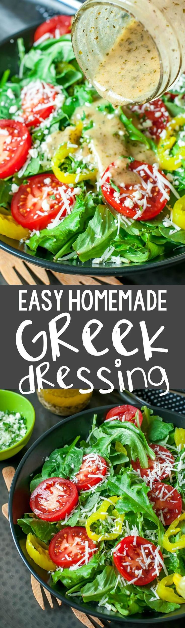 Ditch the sketchy processed bottled dressing and whip up this super quick, super easy homemade Greek dressing!