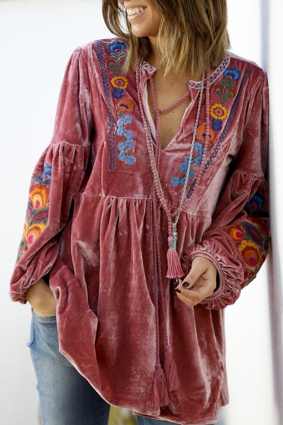 d2ed8cf5280b12 A chic velvet embroidered stunning top from Alice Rises Up Style Olia |  Styling in 2019 | Fashion, Boho fashion, Boho dress