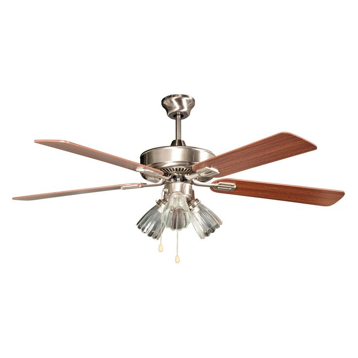 "Concord Fans 52"" San Marcos Stainless Steel Ceiling Fan with 3 Lights Kit"