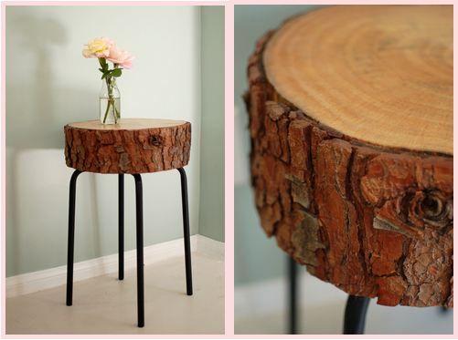 Ikea krukje met een schijf van een boomstam