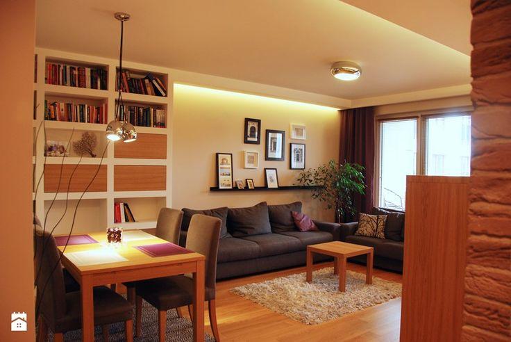 Aranżacje wnętrz - Salon: mieszkanie 90m2 - Mały salon z jadalnią, styl…