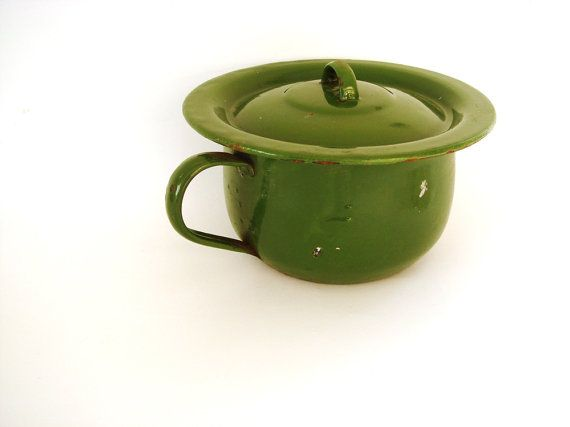 Green Vintage Potty Soviet Design Metal by GrandpasTreasury, $25.00