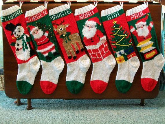 2014 - Hand Knitted Custom Order Vintage Style Santa Holding Tree Christmas Stocking