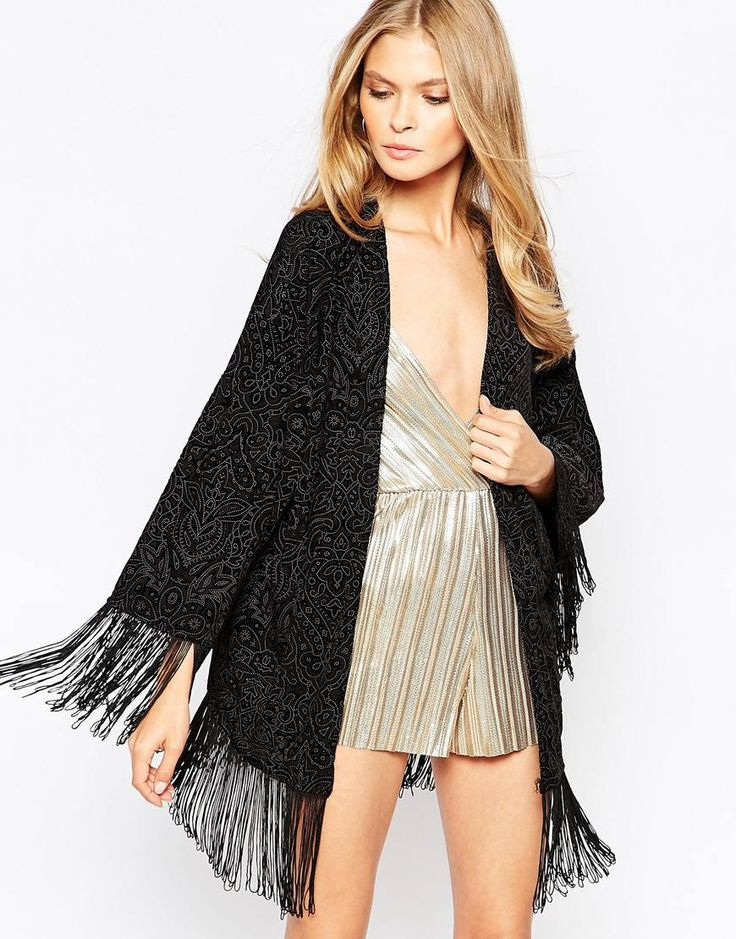 Kimono by Oh My Love Lightweight fabric Flocked design Open front Tassel fringing Loose fit - falls loosely over the body Hand wash 68% Polyester, 24% Nylon, 8% Spandex Our model wears a UK S/EU S/US XS and is 173cm/5'8""