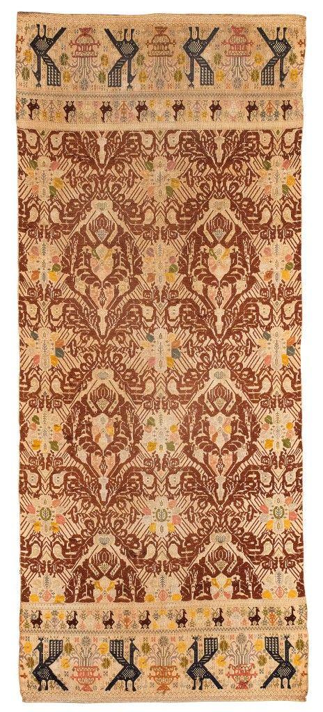 Morgongiori wool and metal thread textile, Sardinia, ca. 1900, Carpet, Rug.