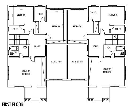 4 Bedroom Semi Detached Duplex First Floor Plan Duplex