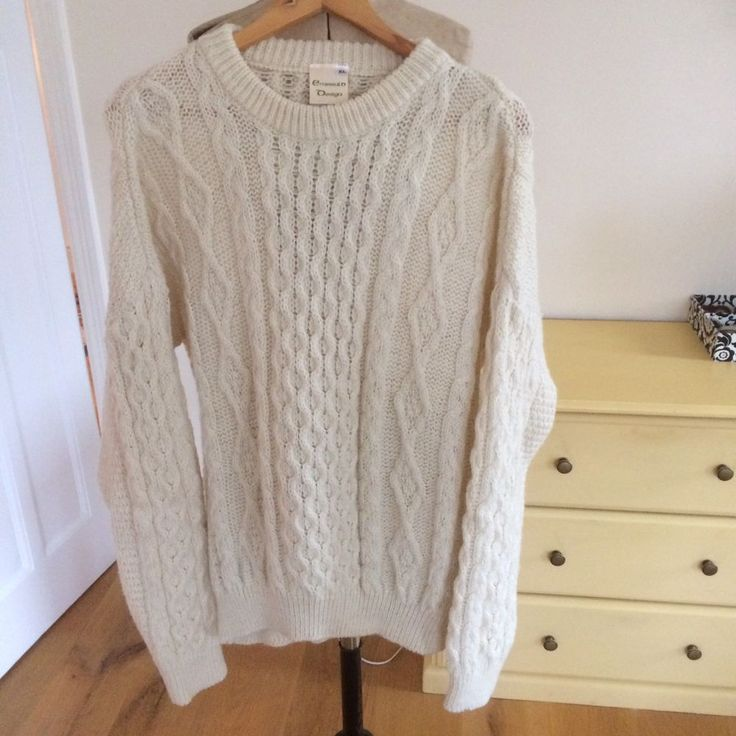 """Aran Jumper Wool Cream 46/48"""" chest 