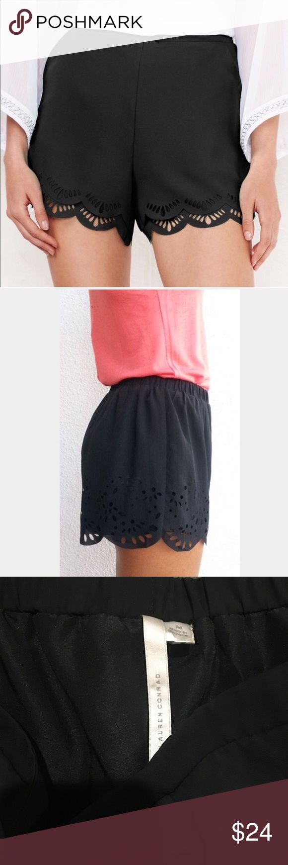 """LC Lauren Conrad scalloped laser cut shorts LC Lauren Conrad double tiered shorts. Laser cut detail at hem. Lined. Elastic waist. Pockets. Poly. No condition issues, worn once or twice. Length down side is about 14.5"""". Waist is 15"""" flat and unstretched. Flat front and flattering cut.  Easy to dress up or down. LC Lauren Conrad Shorts"""