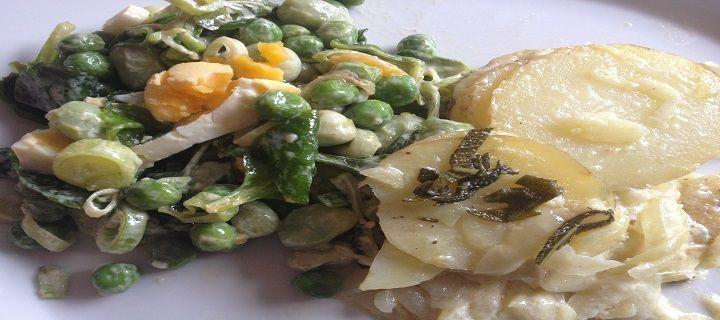 Gele kip met gesmoorde groenten en aardappelgratin - Koken voor mijn peuter