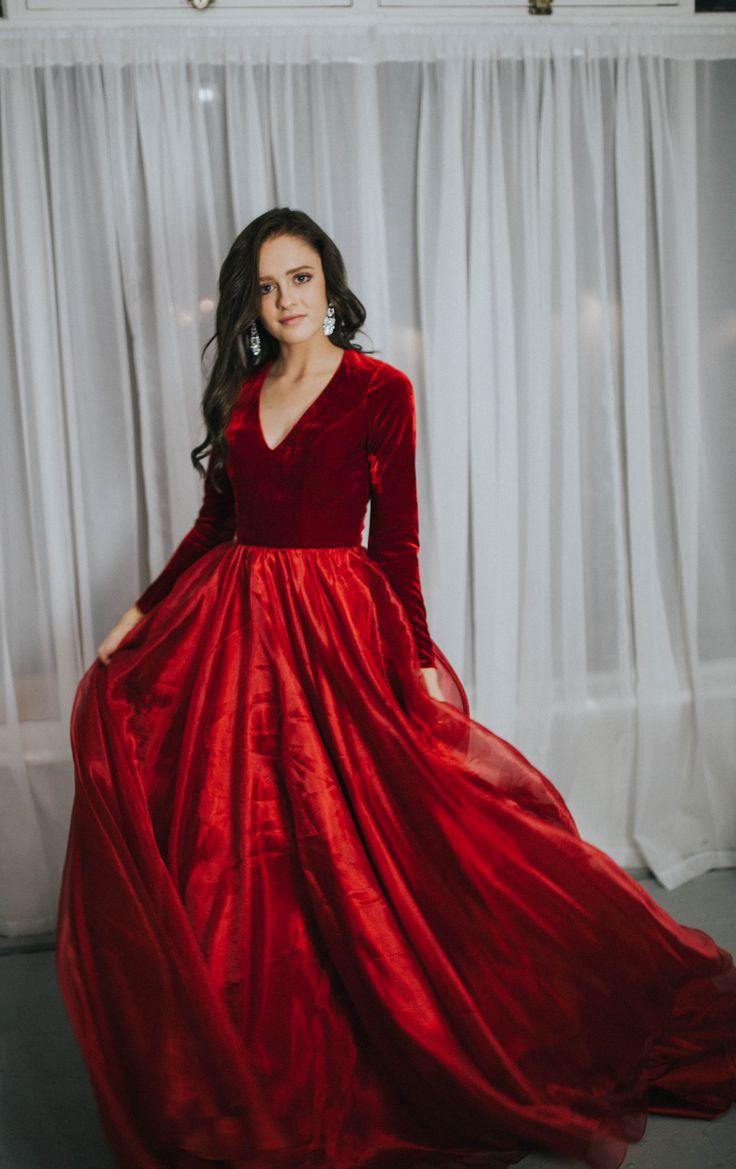 Modest prom dress velvet prom dress sleek ball gown utah for Long sleek wedding dresses