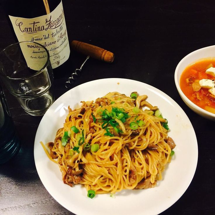 ばんごはん 何やかんやバタバタしてたので手抜きパスタ  牛肉ときのこの醤油パスタ クリームチーズ入りトマトスープ 弟から貰った赤ワイン  ごはん済んだらとっとと寝よ  いただきます  #iPhoneカメラ #晩御飯 #パスタ #スープ #ワイン #イッタラ #ザッカニーニ #モンテプルチアーノ #貰いもの  #ありがとう #iphonecamera #pasta #soup #dinner #wine #ittara #montepulciano #2013 by picco_901