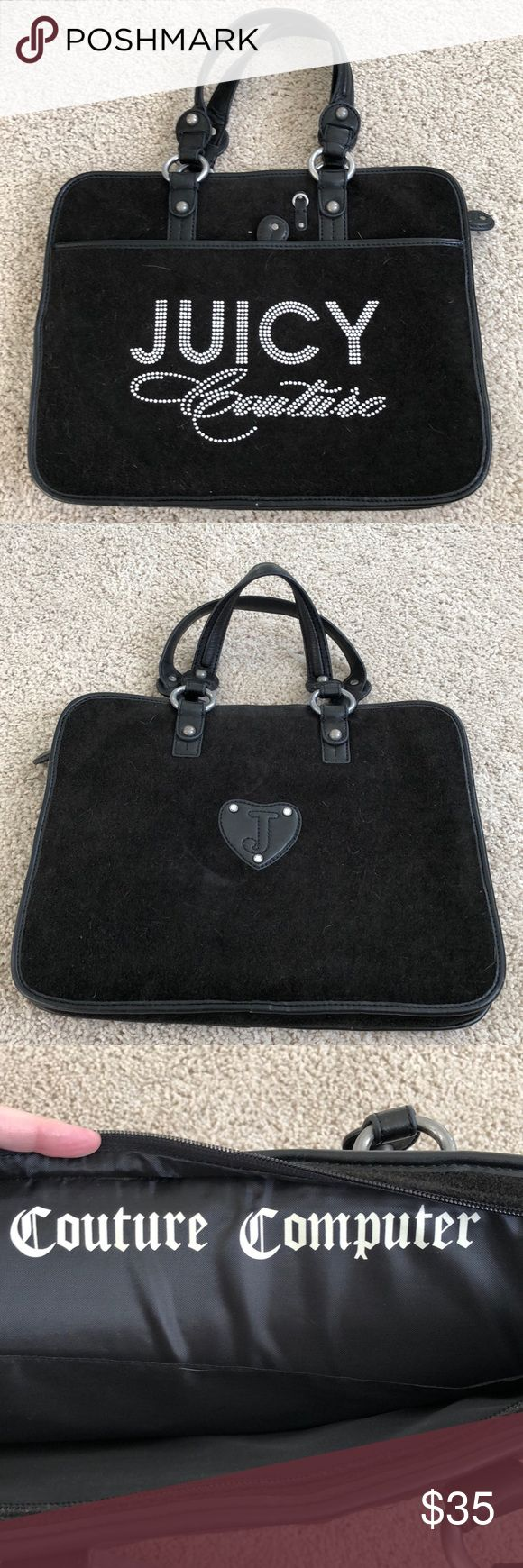 Juice Couture laptop bag Black bedazzled Juice Couture laptop carrying bag. Bag is in great condition, barely used. Juicy Couture Bags Laptop Bags