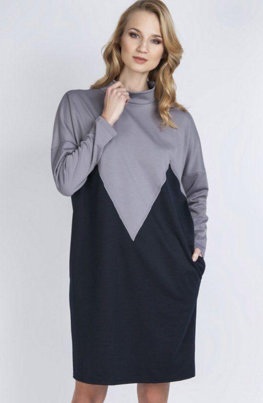 Lanti SUK134 sukienka szara Casualowa sukienka, luźny fason, sukienka przy odpowiednich dodatkach będzie idealna na każdą okazję