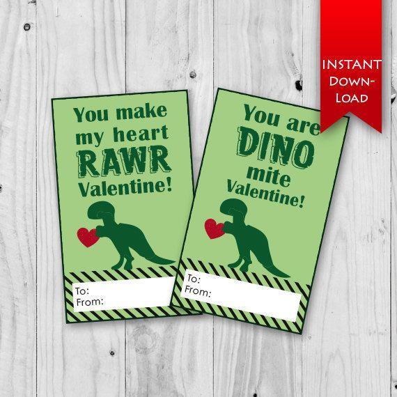 Dinosaur Valentine's Day Cards | You make my heart rawr! | You are DINO mite valentine! T-Rex valentine printables.