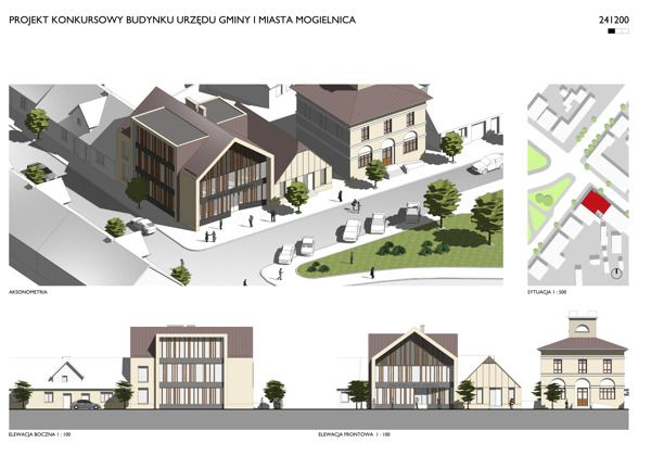 Mogielnica - Urząd Miasta i Gminy on Behance | Architectural competition entry work in collaboration with Piotr Ehrenhalt, The new building of local authorities in Mogielnica, Poland.