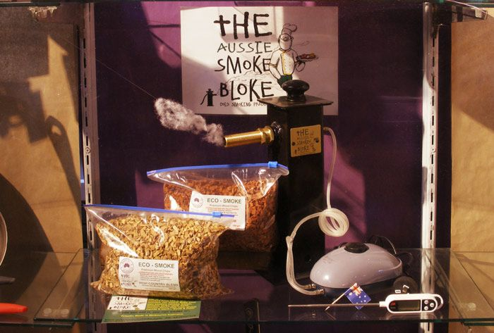 The Aussie Smoke Bloke cold smoker set up, with prop smoke puff. Client: London and American Supply Stores Display and Image: Patricia Denis