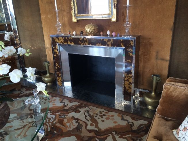 Rybar Designed Faux-Tortoiseshell Mantel with Steel Facing and Trim, Fabricated by Karl Springer