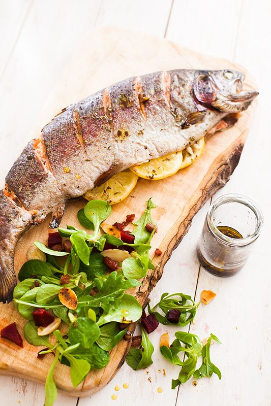 Whole sea trout recipe, with a light lambs lettuce and beetroot salad.   www.afoxinthekitchen.com