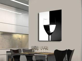 Schilderij glas wijn zwart / wit