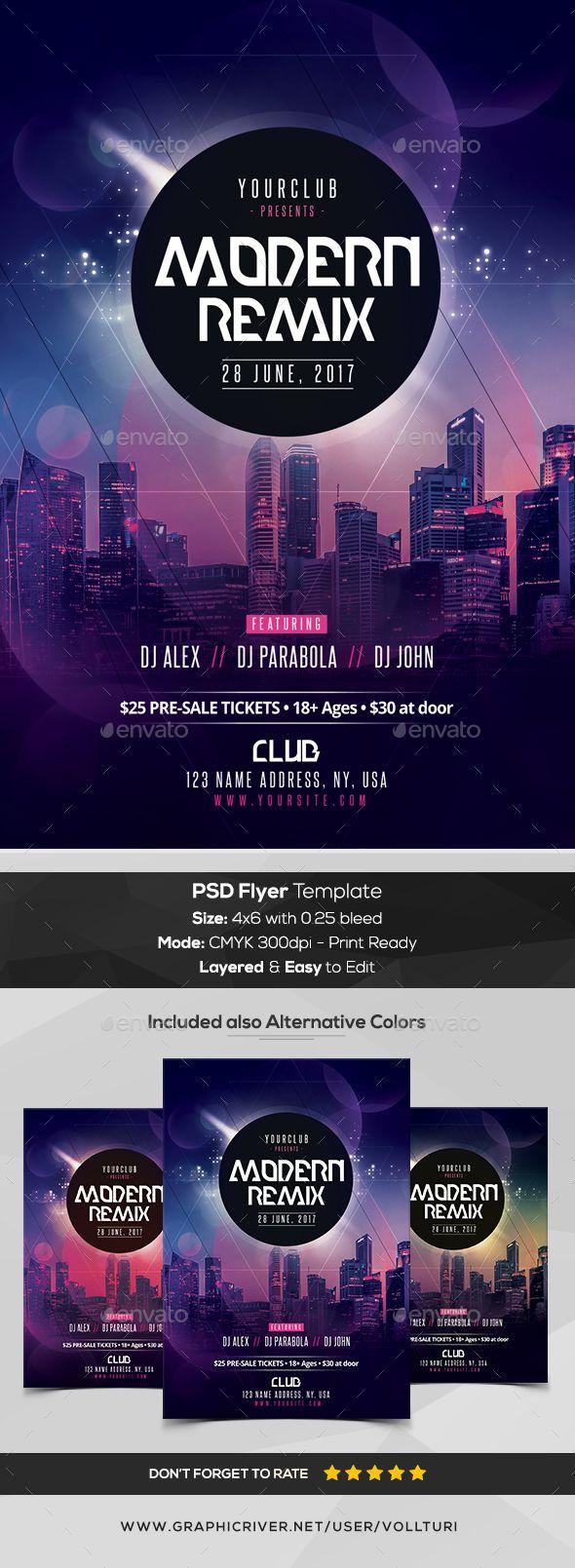 Modern Remix - PSD Flyer Template - #Flyers Print Templates Download Here:      https://graphicriver.net/item/modern-remix-psd-flyer-template/20107972?ref=suz_562geid