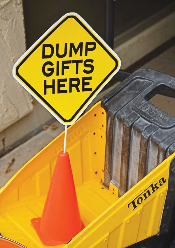 dump gifts here and more construction party ideas