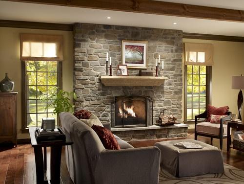 Stone fireplace with windows both sides house - Fotos de chimeneas decorativas ...