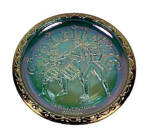 Indiana Blue Carnival Glass Plate. Celebrates the Spirit of 76 and the US American Bicentennial, 1776 to 1976. Vintage  #CarnivalGlassGlassware