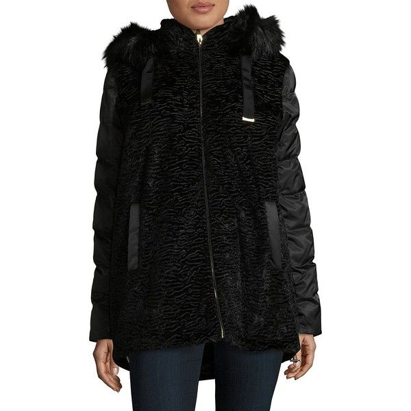 Via Spiga Women's Hooded Faux Fur Puffer Coat ($160) ❤ liked on Polyvore featuring outerwear, coats, black, faux fur hooded coat, sleeveless coats, stand collar coat, via spiga coats and puffer coat