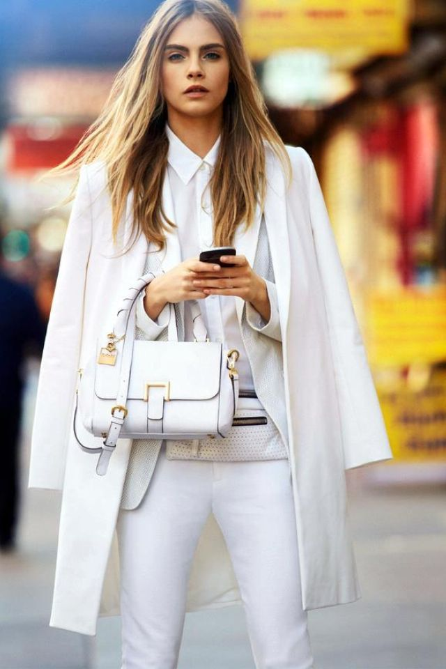 all white everything #Cara Deviligne