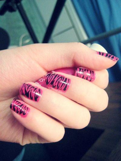 Obsessed with fun nail designs at the moment! Look at these hot pink nails and the video tutorial for azebra print nail design!