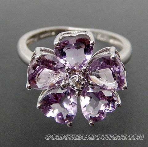 Heart Shaped Amethyst & Round White Topaz Flower Sterling Silver Ring – Gold Stream Boutique