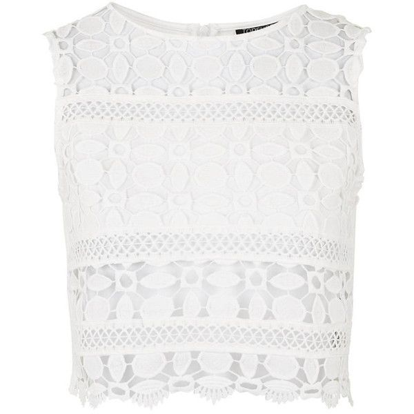 TopShop Lace Panel Shell Top ($46) ❤ liked on Polyvore featuring tops, cream, cream crop top, cream top, white tank, crop top and white singlet