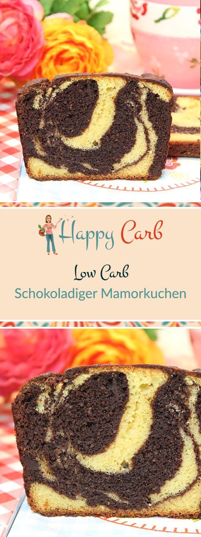 Ein Mamorkuchen mit dem extra Schokokick.  Low Carb Rezepte von Happy Carb. https://happycarb.de/rezepte/backen/schokoladiger-mamorkuchen/