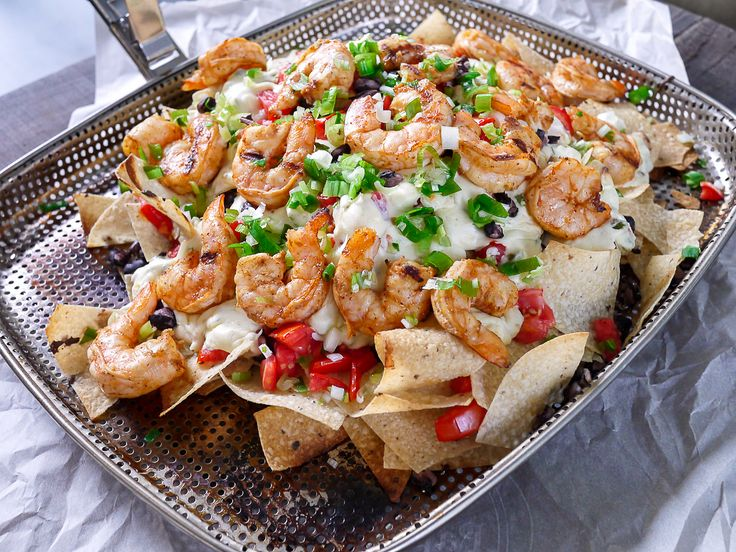 Grilled Shrimp and Pepper Jack Cheese Nachos {use reduced fat cream cheese or non-fat Greek yogurt in place of regular cream cheese for lighter version}