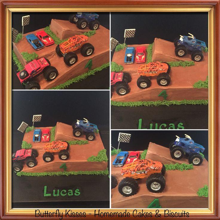 Monster truck buttercream cake