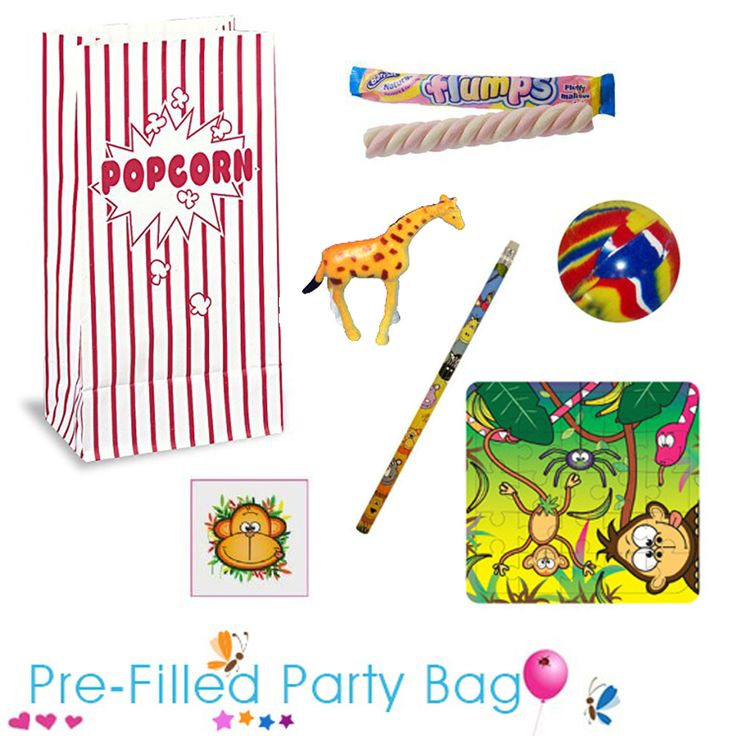 A party bag is a great gift to give to your guests at the end of a party. Your bags will arrive ready to go, all you need to do is share them with the party guests on the day. This pre filled party bag is made up with: 1 x Flump, 1 x Jetball, 1 x Jungle Pencil, 1 x Zoo Animal Toy Figure, 1 x Jungle Tattoo, 1 x Jungle Jigsaw. #circuspartybags #circusparty #prefilledpartybags #circusparty #junglepartybags #zoopartybags #zooparty #jungleparty #circuspartysupplies
